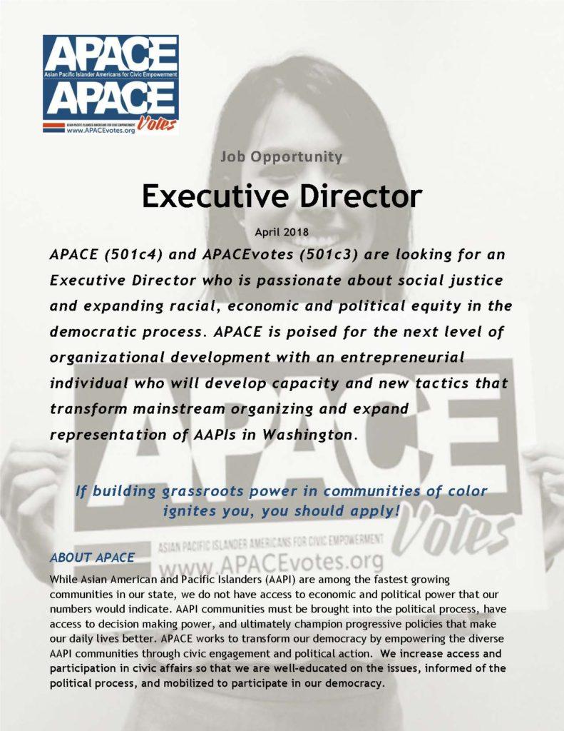 Awesome 2018 APACE Executive Director Job Description