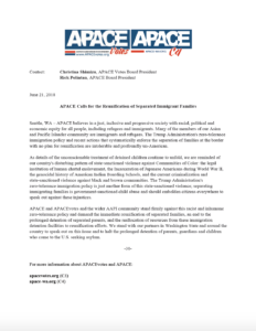 "APACEvotes's Press Release on Trump's ""Zero-Tolerance"" Policy"