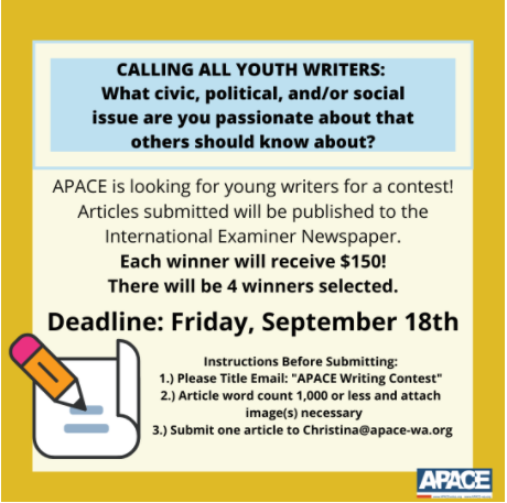 Flyer image of APACE and International Examiner